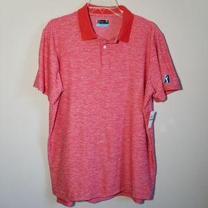 PGA TOUR Red/White Heathered Golf Shirt